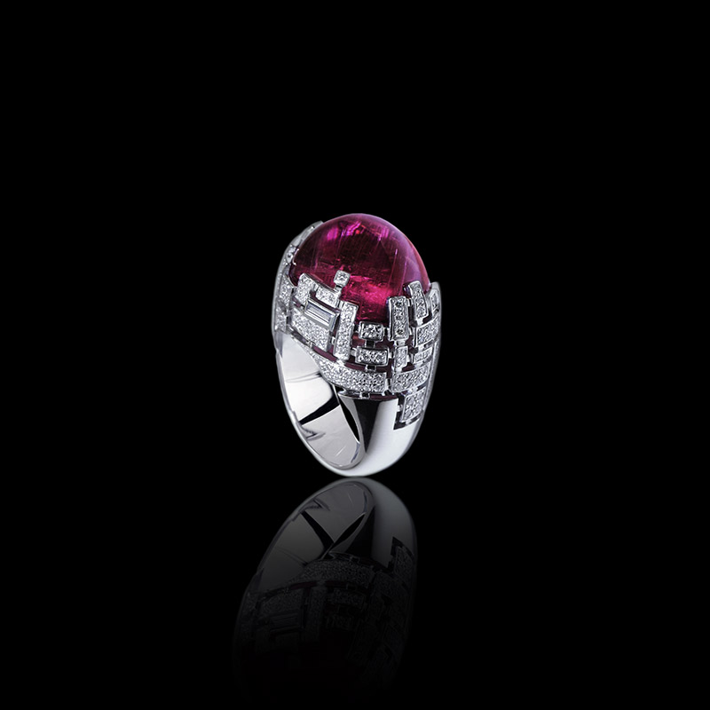 Cubism Pav Diamond And Gemstone Ring With Rubellite And