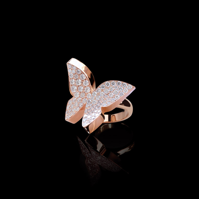 Odyssey Butterfly Ring With Full Pav Diamonds In Pink Gold