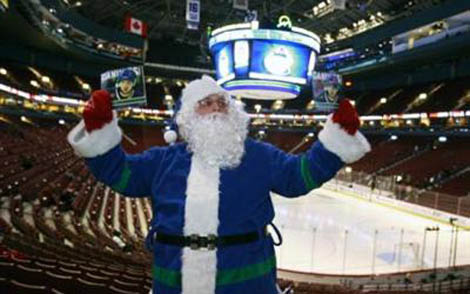 Santa Claus at the Canucks game