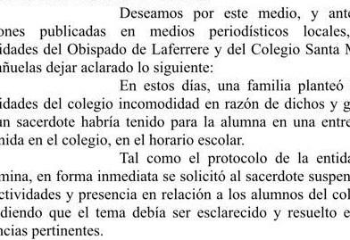 Santa María: el Obispado reconoció que el docente fue suspendido a raíz de la denuncia de abuso