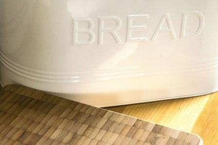 An image of the bread bin and bread board in Seren