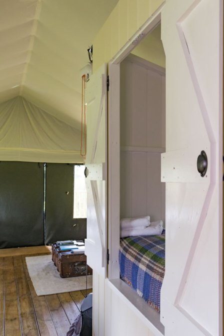 A side view of the cabin bed in Afon