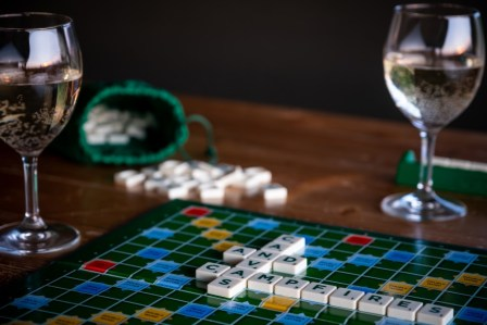 Board games on the table with wine