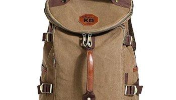 KAUKKO Classic Canvas Backpack Travel Hiking Bag Rucksack Outdoor Sports  Satchel Khaki 757182218cf80