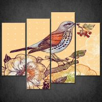 FOREST BIRD SPLIT CANVAS WALL ART PICTURES PRINTS LARGER ...