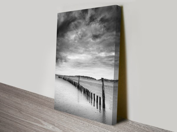 Beach Bones Black And White Canvas Wall Art Print