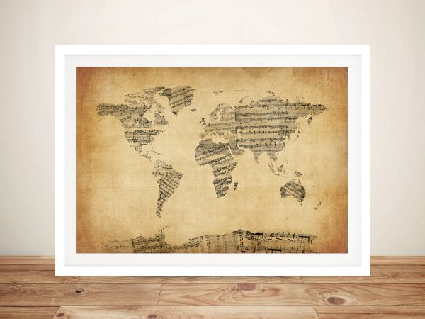 Old Sheet Music Map Of The World Wall Art Canvas