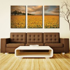 Wall Prints For Living Room Australia West Elm Chairs Sunflowers 3 Piece Art Triptych Canvas Pictures