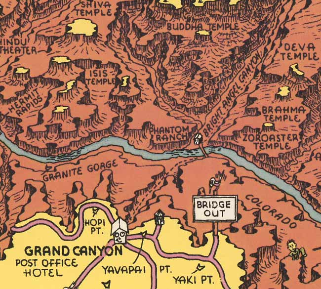 Detail from Jolly Lindgren's 1940 cartoon travel map of Grand Canyon, showing Grand Canyon Village, Phantom Ranch, and surrounding area.