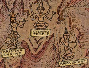 Vishnu Temple and other Grand Canyon landmarks as illustrated and personified by Jo Mora in his 1931 map.