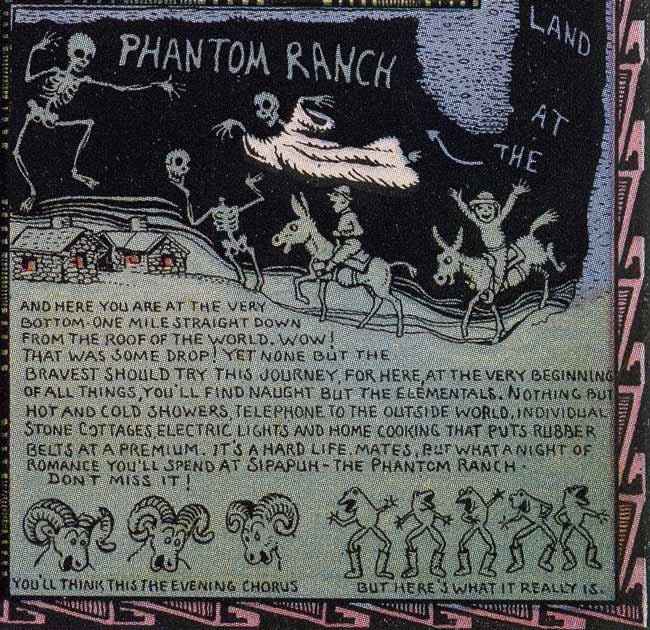 Detail from cartoon map by Jo Mora that conflates Sipapu and Phantom Ranch in Grand Canyon