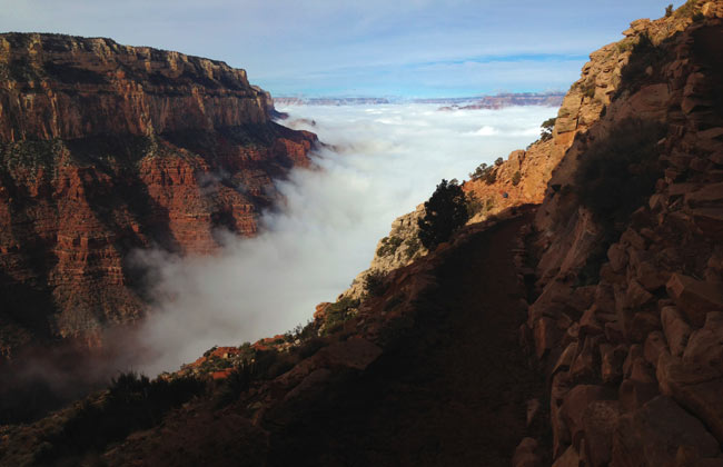 Clouds fill Pipe Creek Canyon during an inversion event