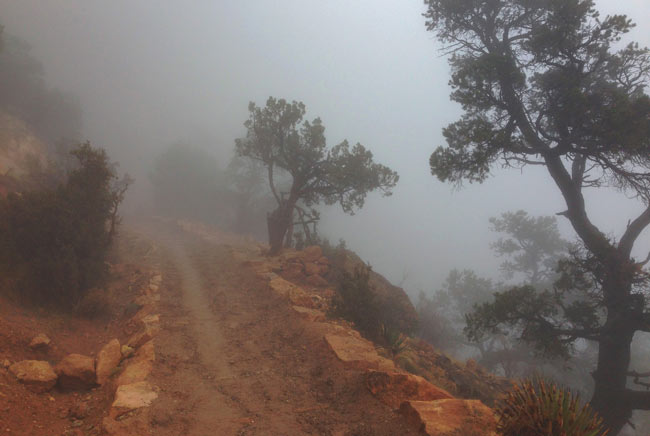 A stretch of the South Kaibab Trail in the Toroweap Limestone, as it appeared while covered in clouds during an atmospheric inversion.