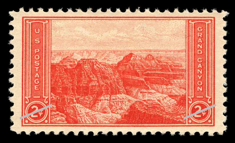 1934 Grand Canyon stamp printed in red ink
