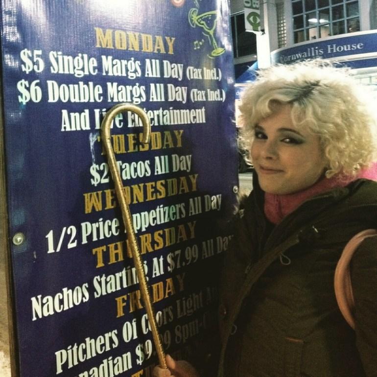 Author Margaret is too sober for love. Single Margs: $5. Photo by Laura Selenzi. Via @margaretsbelly instagram.