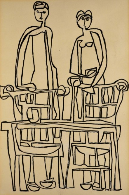 Herringer Kiss Gallery Katie Ohe - Ink On Paper 22 x 14.5 'Front'