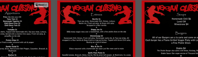"Casa Diablo Menu ""The Best F*****ng Burger yo will ever eat"""