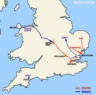 Movements of The Armies of The Romans and Iceni.