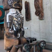 Modern Totem poles and Haida House Replica. M O A. UBC