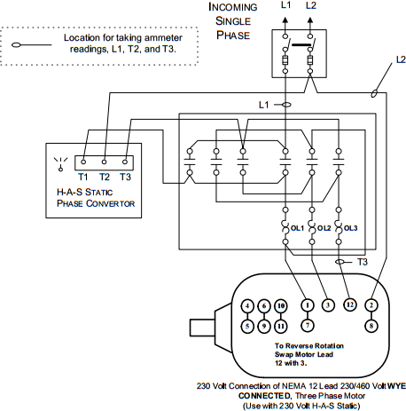 H A S Static Phase Converter Installation Diagrams