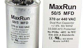 MAXRUN 45+5 MFD uf 370 or 440 Volt VAC Round Motor Dual Run