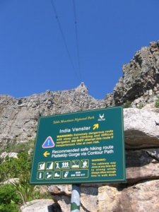 The warning sign at the start of the India-Venster Route