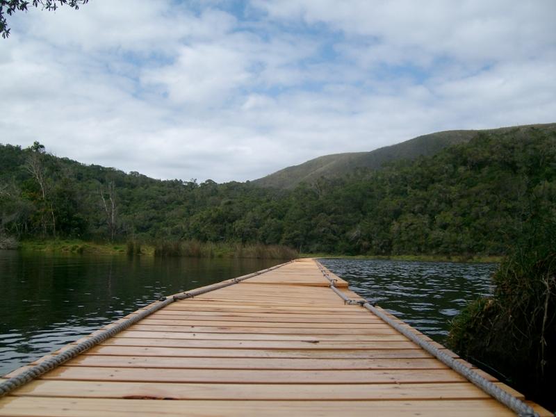 Floating bridge finish of the Otter Trail Run