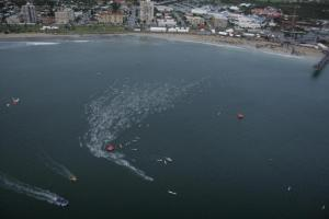 Turning on the first buoy, IronMan South Africa 2012