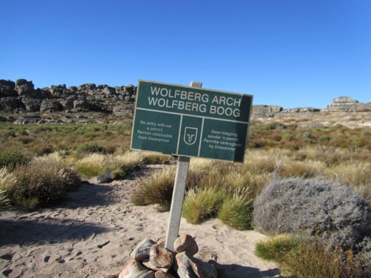 Wolfberg Arch sign above Wolfberg Cracks, Cederberg