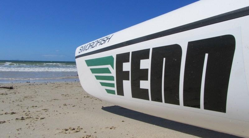 Fenn Swordfish surfski, Fish Hoek Beach