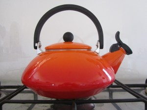 Flame coloured le Creuset Zen Kettle