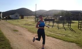 Leanne finishing parkrun Hartenbos