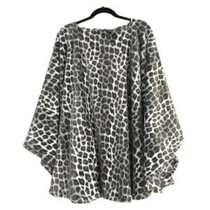 Women's Leopard Fleece Poncho Cape