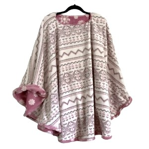 Reversible Fleece Poncho Cape