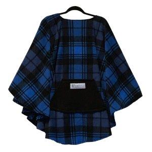 Adult Hospital Gift Fleece Poncho Cape Ivy Blue Black Plaid