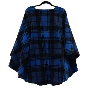 Adult Hospital Gift Fleece Poncho Blue Black Plaid