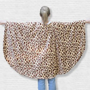 Adult Hospital Gift Fleece Poncho Cape Ivy Brown Leopard