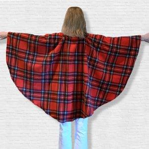 Adult Hospital Gift Fleece Poncho Cape Ivy Red Stewart Plaid