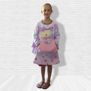 Girl Child Hospital Gift Fleece Poncho Cape Ivy Pastel Stars