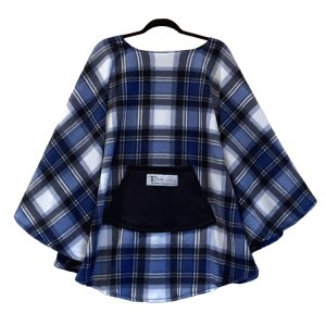 Adult Teen Hospital Gift Fleece Poncho Blue White Plaid