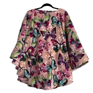 Adult Hospital Gift Fleece Poncho Cape Ivy Butterfly