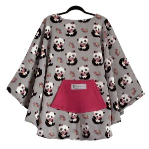 Adult Hospital Gift Fleece Poncho Cape Ivy Pandas and Posies