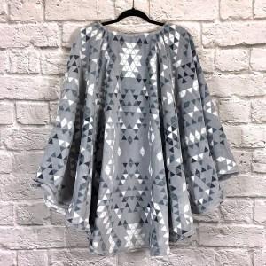Adult Hospital Gift Fleece Poncho Cape Ivy Aztec Triangles Slate Blue Gray