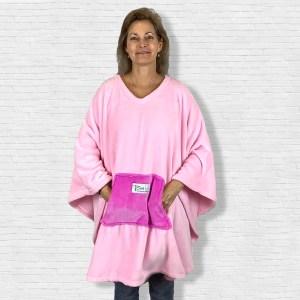 Adult Teen Hospital Gift Fleece Poncho Cape Ivy Pink