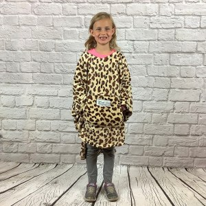 Child Hospital Gift Fleece Poncho Cape Ivy Brown Leopard
