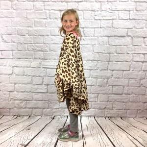 Child Hospital Gift Fleece Poncho Cape Brown Leopard