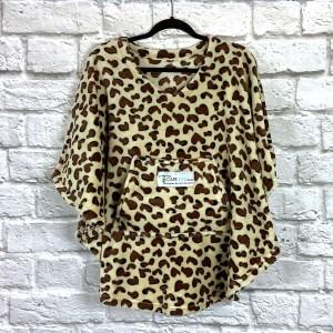 Child Hospital Gift Fleece Poncho Brown Leopard