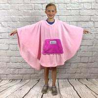 Child Girl Hospital Gift Fleece Poncho Cape Ivy Pink