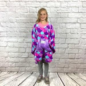 Child Hospital Gift Fleece Poncho Cape Purple Mermaid