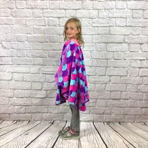 Child Hospital Gift Fleece Poncho Cape Ivy Purple Mermaid